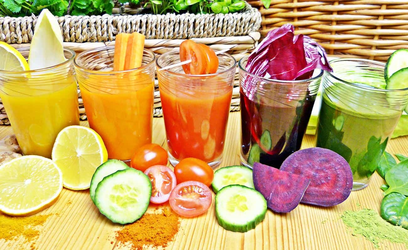 Colourful fruit and vegetable juices