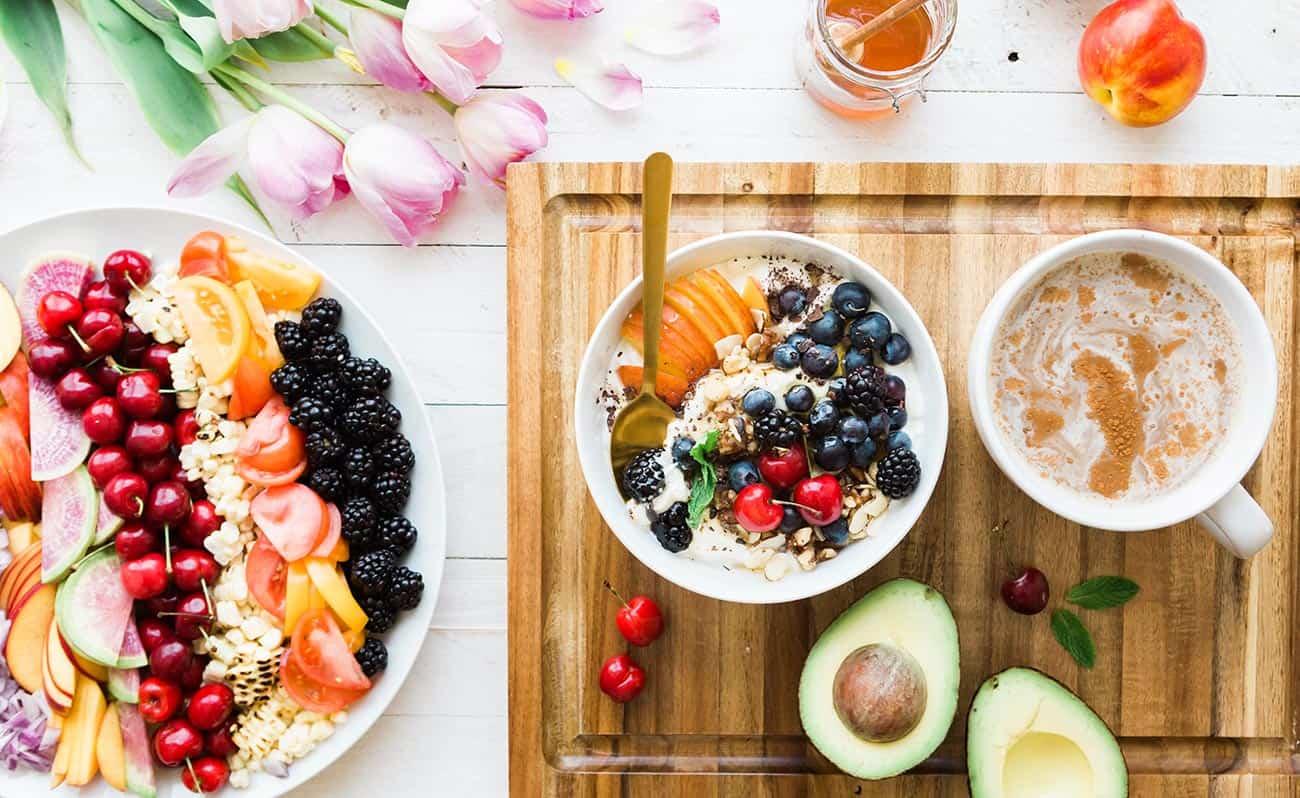 Healthy breakfast spread